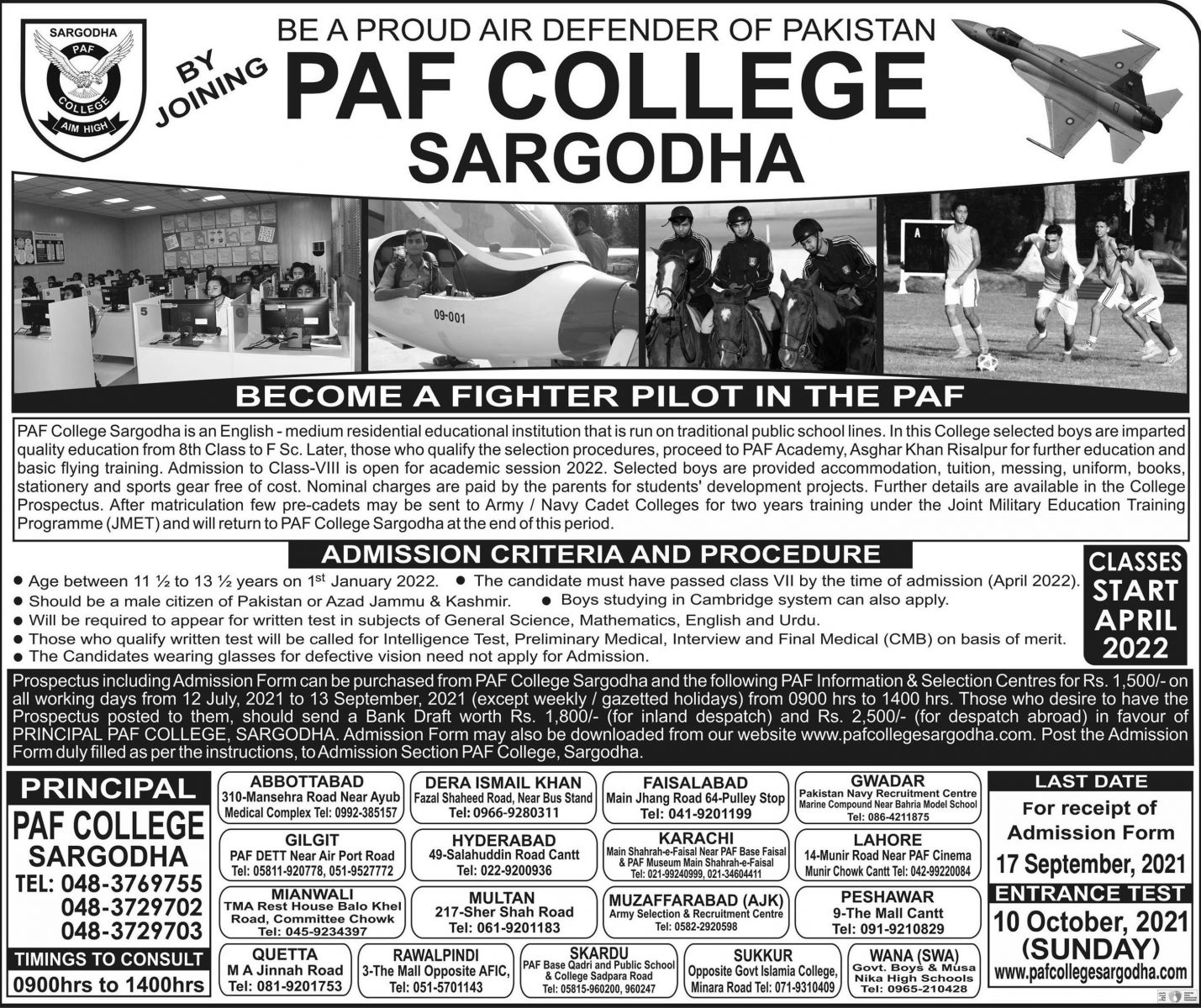 PAF College Sargodha Admission 8th Class 2021-2022